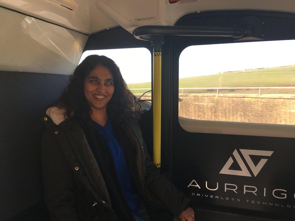Masuma Ali sat inside the Aurrigo driverless car