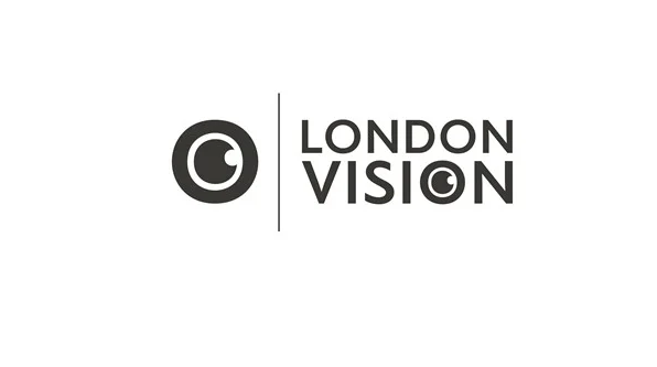 London Vision logo. London Vision written to the right of the image. There is a vertical dividing line to the left of the text and to the left of that is a small eye icon.
