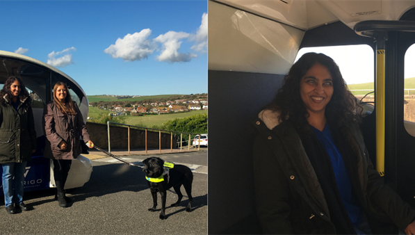 Left image is Masuma Ali and Bhavini Makwana, with Colin the guide dog to the right, standing in front of an autonomous vehicle. Second image, on the right, is Masuma sitting inside the vehicle
